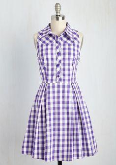 Atlanta Adventure Dress in Violet Plaid - Purple, White, Checkered / Gingham, Print, Shirt Dress, Fit & Flare, Sleeveless, Spring, Woven, Better, Pockets, Mid-length, Cotton, Work, Casual, Summer, Sundress