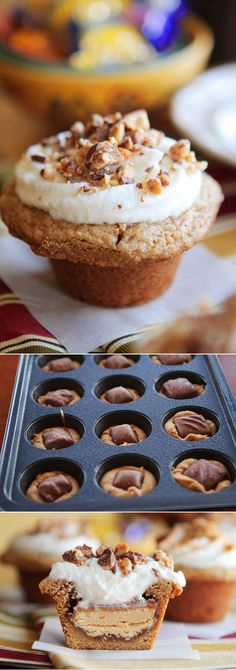 Frosted Candy Bar Stuffed Cookie Cups - Wrap cookie dough around a mini candy bar and bake it in a muffin tin! Sugar Cupcakes, Cupcake Cakes, Just Desserts, Delicious Desserts, Yummy Food, Mini Desserts, Plated Desserts, Cupcake Recipes, Cookie Recipes