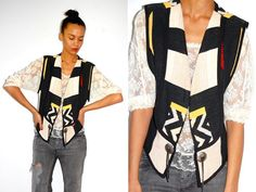 Vtg Tribal Printed Color Block Chunky Vest  http://www.etsy.com/shop/LuluTresors
