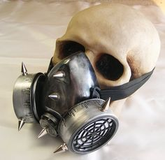 SILVER PEWTER-Distressed Look Steampunk Chemical Nuclear Fall Out Biological Warfare Respiratory Gas Mask with SPIKES