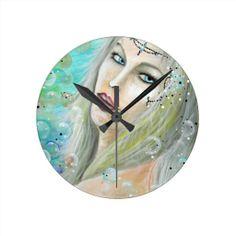 Ocean Princess Design Round Wall Clocks