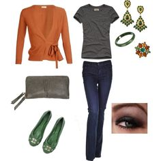 Pewter, Rust, and Green, created by maggiesuedesigns on Polyvore