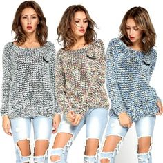 New Women Long Sleeve Knitted Mohair Sweater Leisure Loose Knitwear