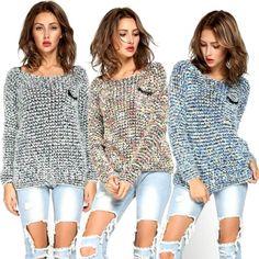 New Women Long Sleeve Knitted Mohair Sweater Leisure Loose Knitwear