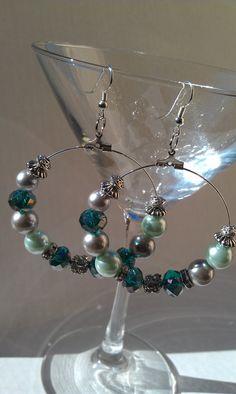 Emerald mint green silver pearl sparkle hoop by LilaRoseJewelry
