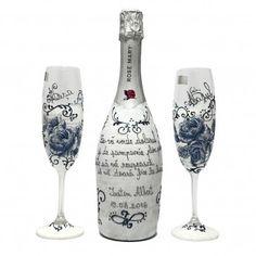 Set sampanie pictata manual cadou pentru nasi/ handpainted crystal glasses and champagne. Flute, Manual, Champagne, Hand Painted, Glasses, Bottle, Tableware, Handmade, Crystal