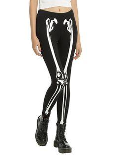 CURRENTLY ON SALE in Medium probably Skeleton Printed Glow-In-The-Dark Leggings, BLACK