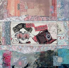 old map and fabric collage by florence cathala