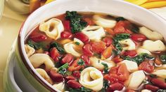 Tortellini, beans and tomatoes are combined together to make a delicious soup – perfect for a dinner.