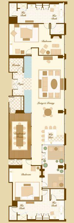 2 Bedroom Suites In Savannah Ga: Bellagio Penthouse Suite Floorplan