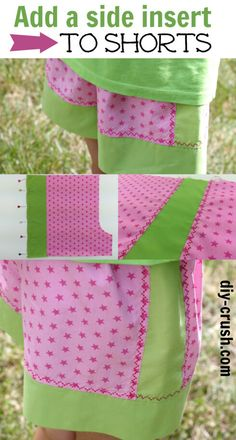 Today's free tutorial shows you how to add a side insert to shorts, using a pattern for shorts that has a border at the bottom hem. Small Sewing Projects, Sewing Patterns For Kids, Sewing For Kids, Sewing Hacks, Sewing Tutorials, Pattern Sewing, Sewing Ideas, Love Sewing, Sewing Diy