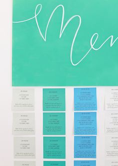 #DIY Cocktail Party Menu using Notes from the @postitproducts A World of Color Bora Bora Collection: http://ohsobeautifulpaper.com/2015/02/post-it-brand-a-world-of-color-collections-cocktail-party-menu/ | Photo by Nole Garey for Oh So Beautiful Paper