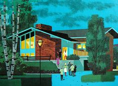 Mid century exterior illustrated by unknown artist. Anyone know who made this?