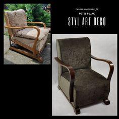 Fotel w stylu art deco w niezwykłej formie, funkcjonalny. Wyjątkowy mebel – fotel bujak, niejednokrotnie nazywany fotelem na resorach. Mebel z lat 30-tych XX. Przeszedł generalną renowację, zaczynając napraw stolarskich, przez wiązanie sprężyn, wymianę kolejnych warstw siedziska i oparcia, uzupełnienie forniru kończąc na wykończeniu i zabezpieczeniu drewna oraz wykończeniu tapicerki tkaniną Azure 1311. Całość utrzymana w ciepłej kolorystce brązu. Accent Chairs, Art Deco, Lounge, Furniture, Home Decor, Upholstered Chairs, Airport Lounge, Drawing Rooms, Decoration Home