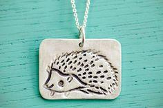 Silver HEDGEHOG NECKLACE by boygirlparty, woodland animal pendant - hedgehog jewelry ecofriendly silver, kawaii cute