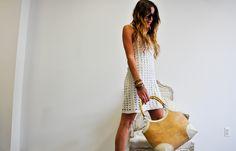 Mango white crochet dress
