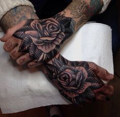 rose hand tattoos