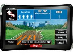 """GPS Automotivo Quatro Rodas Aquarius Tela 4,3"""" - Touch Screen Alerta de Velocidade"""