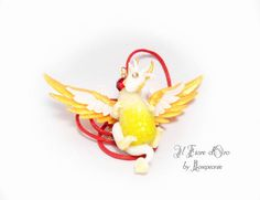 Goldwing Dragon necklace OOAK fantasy jewel with a sculpted pendant. Handmade in Italy
