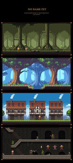Platformer mockup[wip] by iSohei on deviantART Game Environment, Environment Concept Art, Environment Design, 2d Game Background, Pixel Art Background, Game Design, Game Character Design, 2d Game Art, Video Game Art