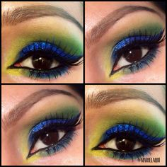 "Colorful Glitter Eye Makeup inspired by the FIFA World Cup ""BRAZIL"" If you want to see this tutorial, check out my youtube channel ""Marielaq81"" #makeup #makeuptutorial #brazil #fifaworldcup #eyeshadow"