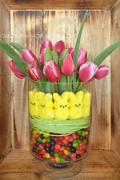 jelly beans + easter grass + peeps + tulips = one gorgeous easter centerpiece