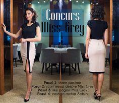Go on our Facebook page, participate at the contest and win this beautiful elegant dress: https://missgrey.ro/ro/rochii/rochie-ambra/262?utm_campaign=campanie_8martie&utm_medium=ambra_concurs&utm_source=pinterest_concurs