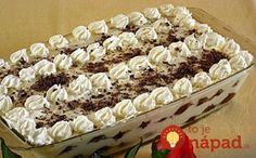 Keď šľahačku tak jedine takto, naučila ma ju moja mama a robím ju tak roky, keď k nej pridáte aj kyslú smotanu, šľahačka bude ešte chutnejšia. :-)  Potrebujeme:  500 ml šľahačkovej smotany (33-35%)    8 lyžíc kyslej smotany    4 lyžice No Bake Desserts, Dessert Recipes, Baking Desserts, Hungarian Recipes, Cakes And More, Cake Cookies, Nutella, Tiramisu, Food To Make