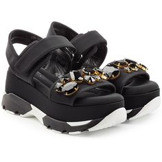 Marni Embellished Platform Sandals (£535) ❤ liked on Polyvore featuring shoes, sandals, black, chunky platform shoes, platform sandals, black chunky sandals, chunky shoes and black embellished sandals