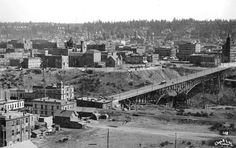 """Then and now photos: The Monroe Street Bridge as seen from the Spokane County courthouse tower. Cool """"then"""" photo from 1903. Via The Spokesman-Review. #spokane #history"""