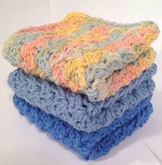 Cotton Crochet Washcloth Set  Country Cabin by DapperCatDesigns, $10.00