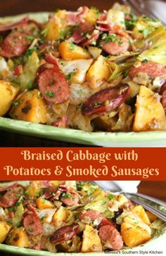 This Braised Cabbage With Potatoes And Smoked Sausages proves food doesn't have . - This Braised Cabbage With Potatoes And Smoked Sausages proves food doesn't have to be fancy to be - Cabbage And Smoked Sausage, Kielbasa And Cabbage, Smoked Sausage Recipes, Braised Cabbage, Pork Recipes, Cooking Recipes, Healthy Recipes, Cabbage Recipes With Sausage, Kilbasa Sausage Recipes