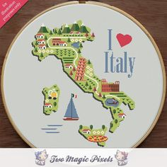 (10) Name: 'Embroidery : I Love Italy modern cross stitch pattern