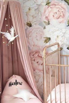 Inspiration from Instagram -A L I C I A @hudson_and_harlow - pastel girls room ideas, pink and grey girls room design, kidsroom decor, girls kidsroom, powder, nursery