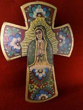 Mexican Folk Art Carved Wood Hand Painted Virgin Guadalupe Religious Cross  8x11