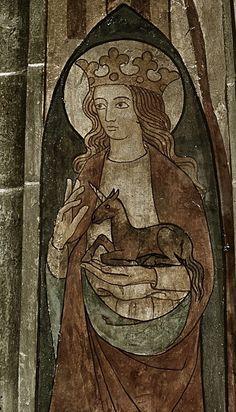 Saint Clare holging a unicorn, fresco, Westphalia, 1330