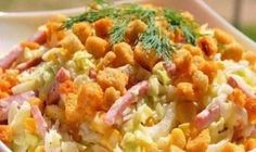 Cheese salad with croutons Cheese salad with croutons - very rich, so they have no problem to feed a small company. Another important point - the salad is not Salad Recipes, Snack Recipes, Cooking Recipes, Snacks, Good Food, Yummy Food, Cheese Salad, Fried Rice, Pasta Salad
