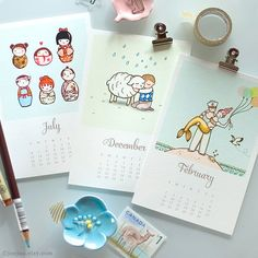 Bit in love with the 2014 Calendar 2014 mini wall calendar by joojoo, $29.00 - One of my favourite artists. Love the Maneki Neko (Lucky Cats) for March and the Kokeshi in July and August. <3 <3 <3