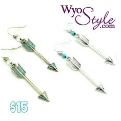 Wyo-Horse Jewelry - Arrow Earrings with Turquoise Beads - Silver or Brass