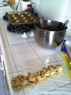 post on how to freeze cookie dough, includes the caterpillar method