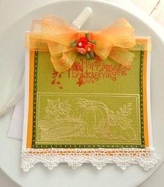 Happy Thanksgiving Card Stamp Embossed Blank by HeavenlyHomeGifts, $4.25