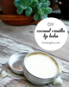 This homemade coconut vanilla lip balm recipe is natural and easy to make, so you can feel good about using it on your lips or giving it away as a gift. DIY. http://www.thesitsgirls.com/diy/coconut-vanilla-homemade-lip-balm/