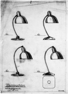 Christian Dell, table lamp Polo Populär, 1931. Made by Bünte & Remmler, Frankfurt. Via Quittenbaum. Drawings via Bauhaus Archiv Berlin