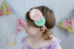 Spring Baby Headband  Pastel Pink & Mint  Newborn by TheRogueBaby, $8.95