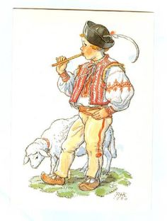Maria Fischerova-Kvěchová German Folk, Easter Pictures, The Shepherd, Vintage Children, Vintage Postcards, Childhood Memories, Sheep, Machine Embroidery, Celtic