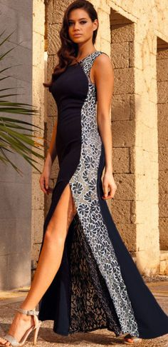 Navy Lace Side Maxi Dress With Fish Tail Detail $47.99