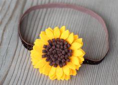 Sunflower felt fabric headband