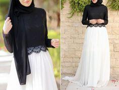 Annah Hariri  - Siyah Beyaz Tesettür Abiye Elbise Modelleri 2015 http://www.yesiltopuklar.com/yeni-nesil-ihtisam.html