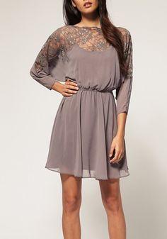 Black Plain Hollow-out Half Sleeve Chiffon Dress