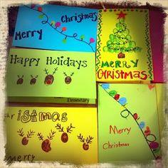 Thumbprint Christmas cards.  Christmas lights, reindeer and tree all made from thumbprints.